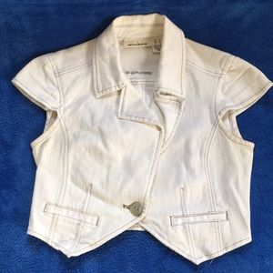 DKNY white denim cropped blazer